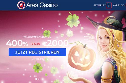 Ares Casino 400% Bonus