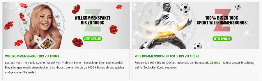 Zodiac Bet Willkommen Bonus